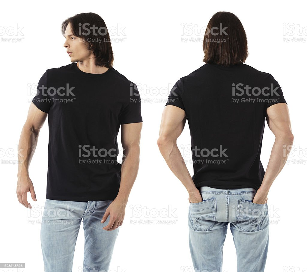Man wearing blank black shirt stock photo