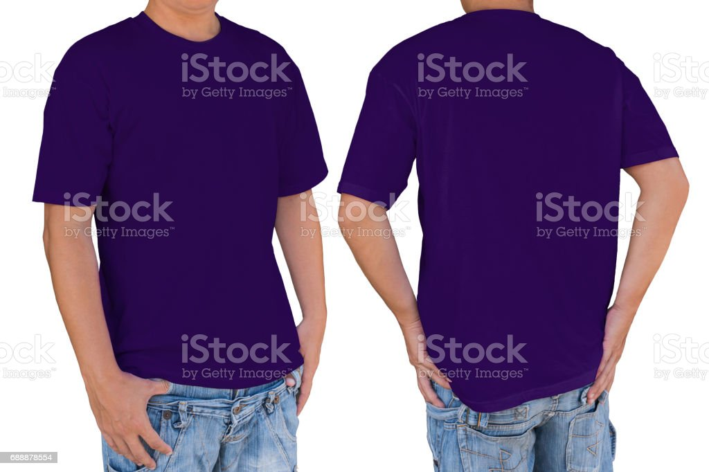 Man wearing blank dark violet color t-shirt with clipping path stock photo