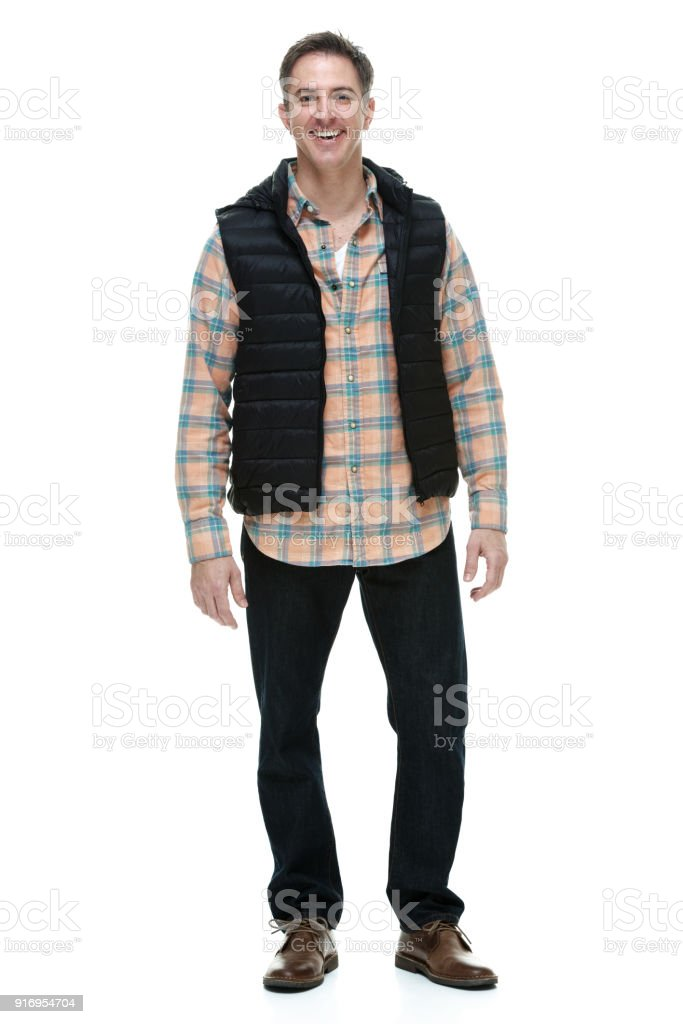 Man wearing casual warm clothes stock photo