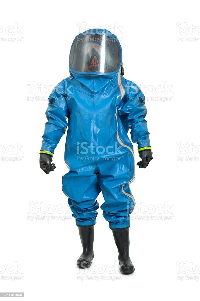 man wearing chemical protection suit stock photo