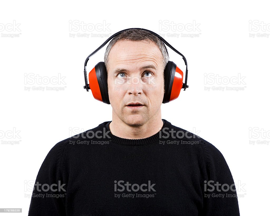 Man Wearing Ear Protection stock photo