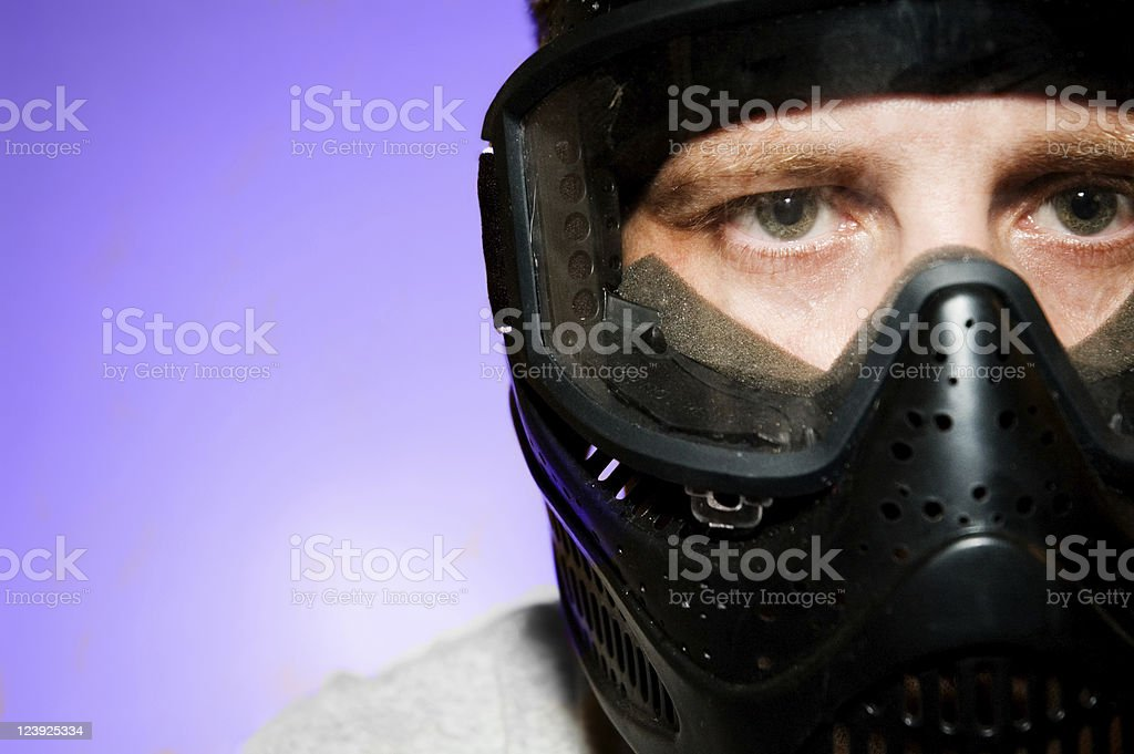 Man wearing face protection gear stock photo