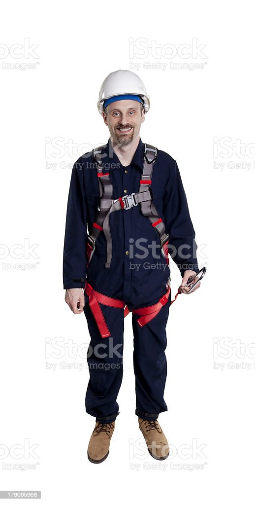man wearing fall protection stock photo