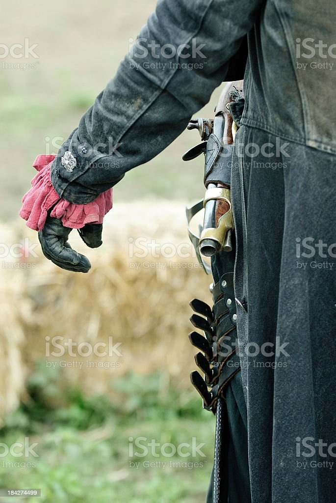 Man Wearing Flintlock Pistol, Ready to Fight stock photo