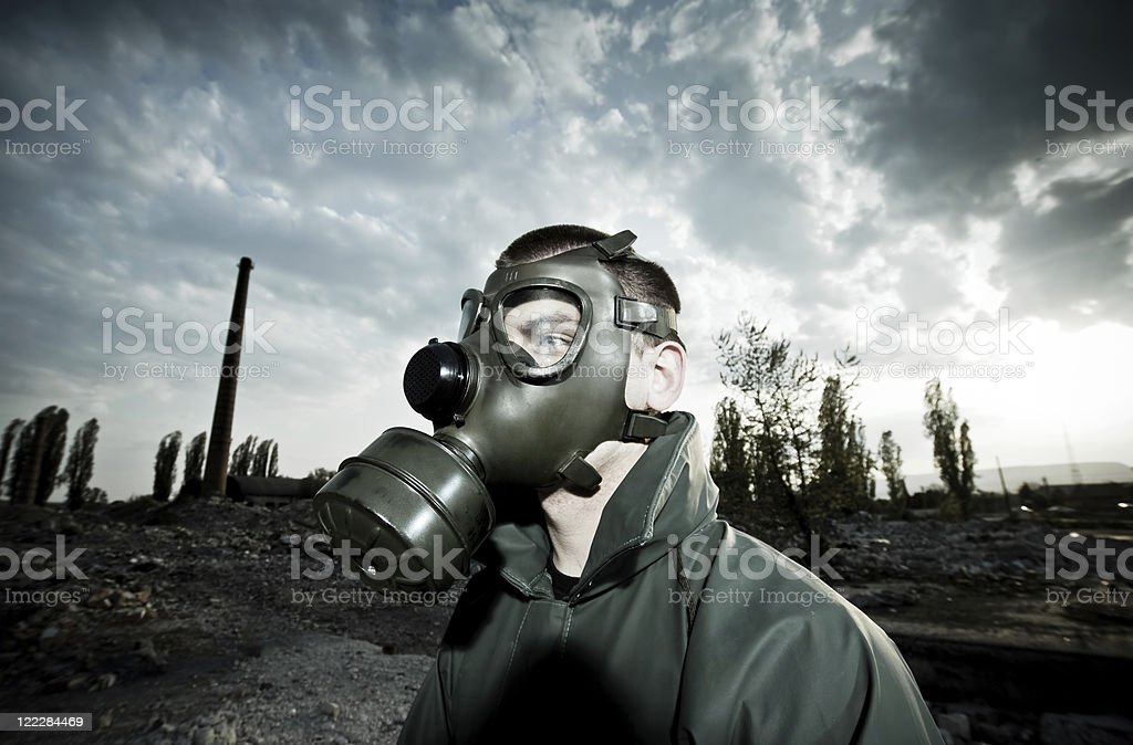 Man wearing gas mask royalty-free stock photo