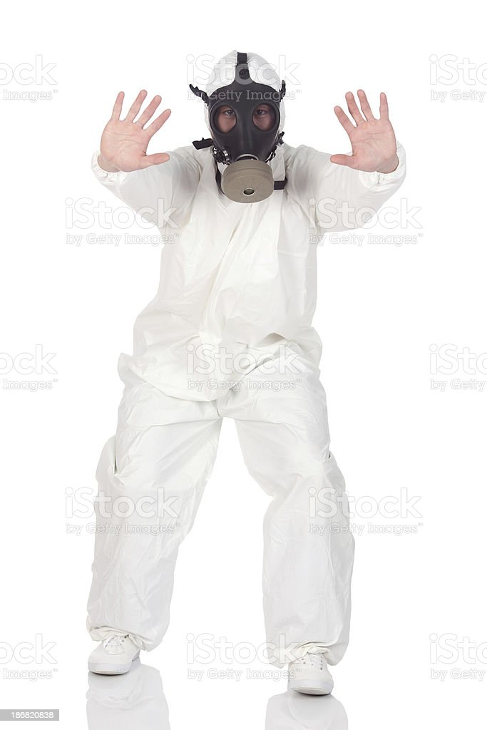 Man wearing gas mask stock photo