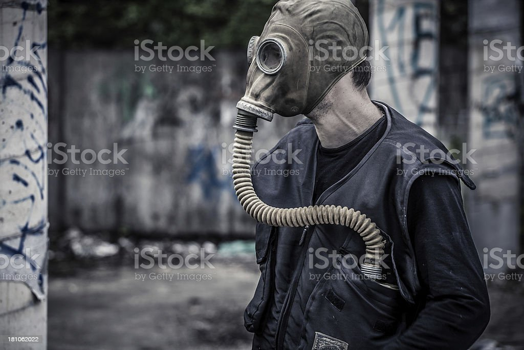Man wearing gas mask with copy space royalty-free stock photo