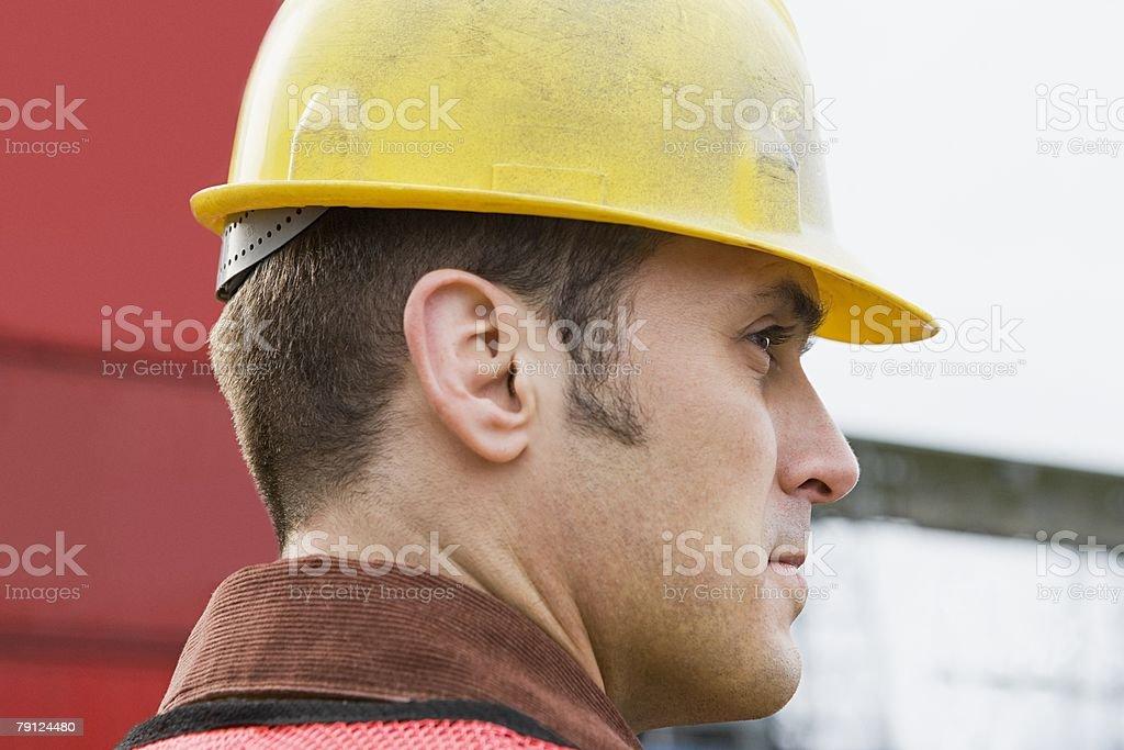 Man wearing hard hat 免版稅 stock photo