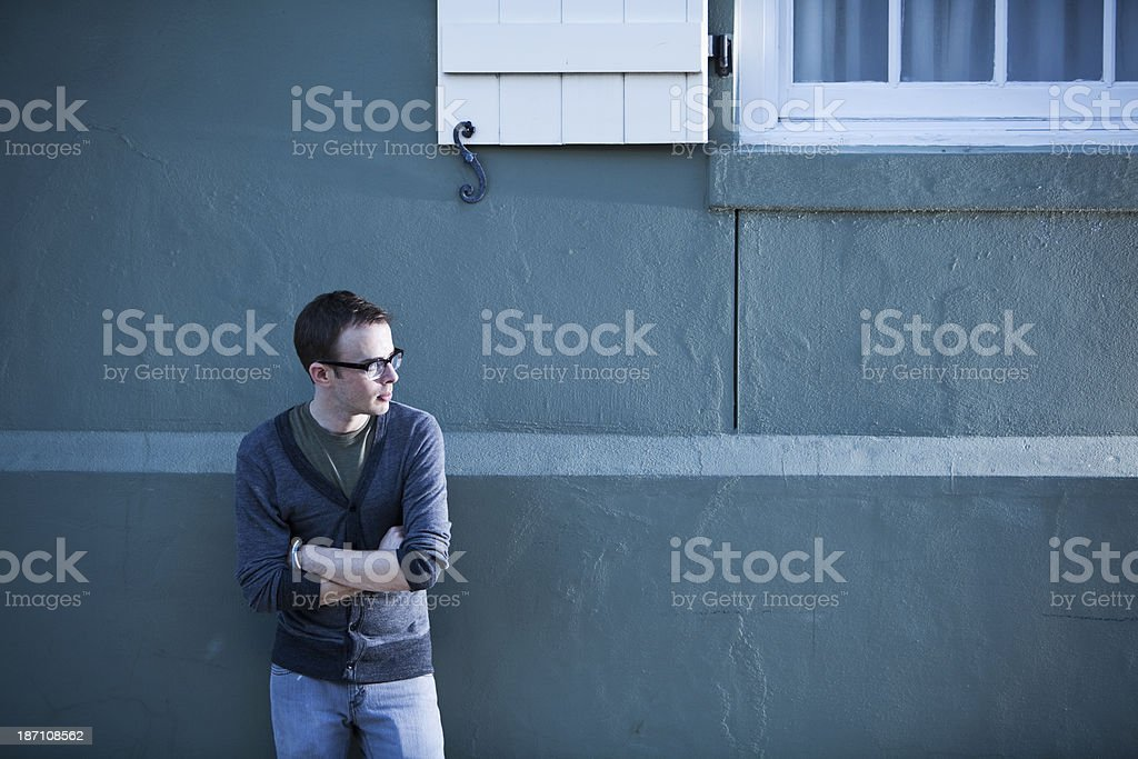 Man wearing horn rimmed glasses royalty-free stock photo