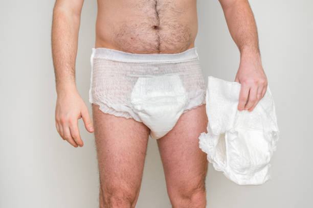 Man wearing incontinence diaper stock photo