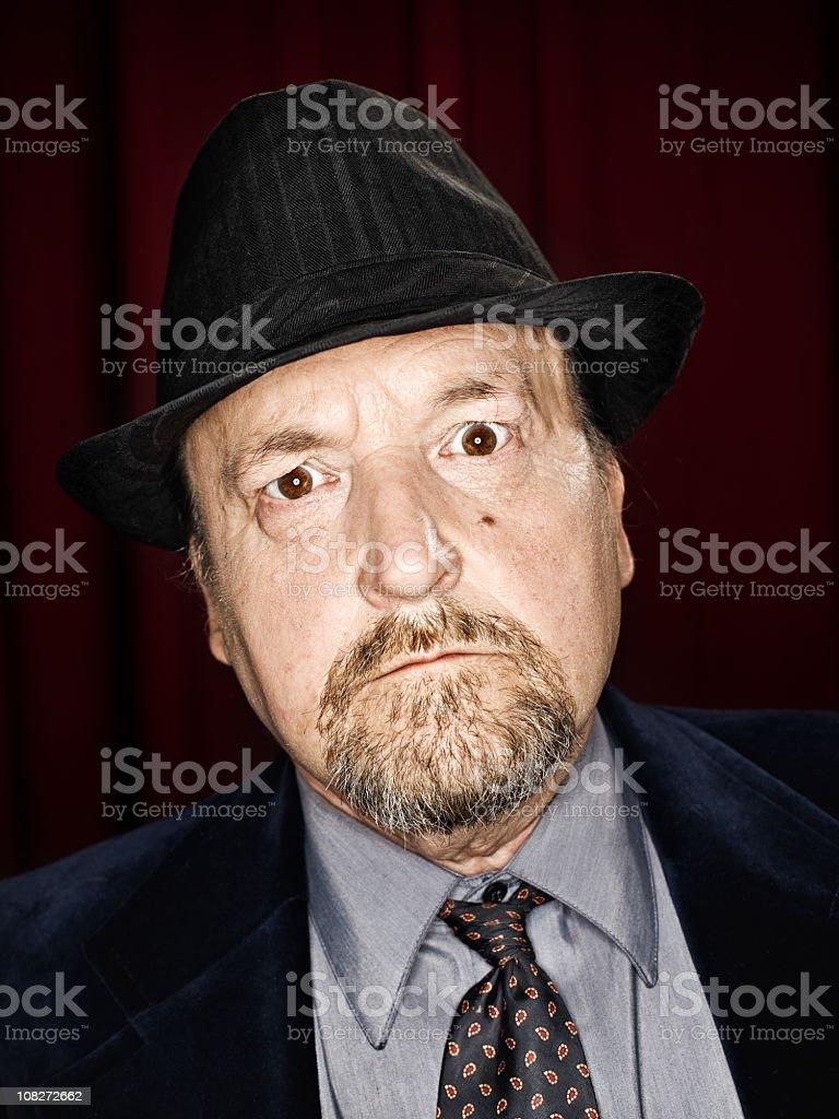 Man Wearing Italian Mafia Hat royalty-free stock photo
