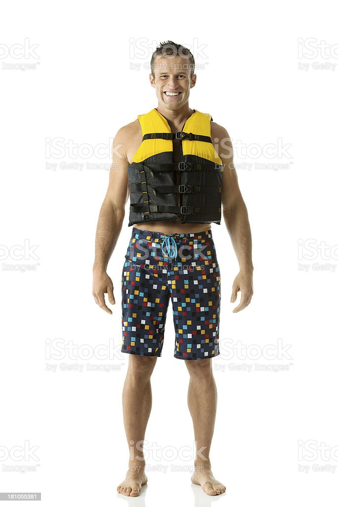 Man wearing life jacket stock photo