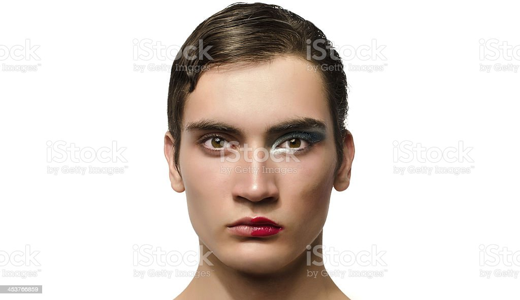 Man wearing make up, Portrait of a drag queen stock photo