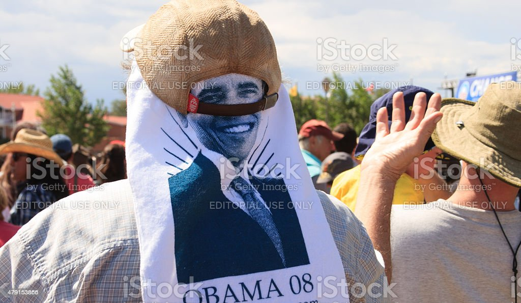 Man Wearing Obama T-Shirt on Head at Rally, New Mexico stock photo