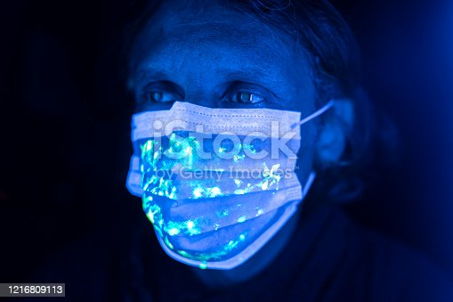 Man wearing  protective face mask with uv light