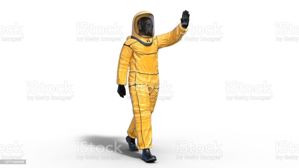 Man Wearing Protective Hazmat Suit Waving Human With Gas Mask