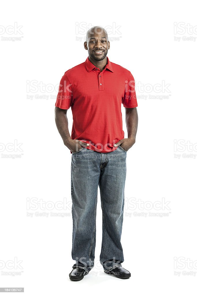Man wearing red polo shirt and blue jeans stock photo
