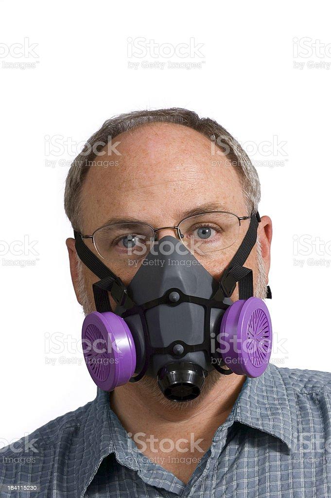 Man Wearing Respiratory Mask stock photo