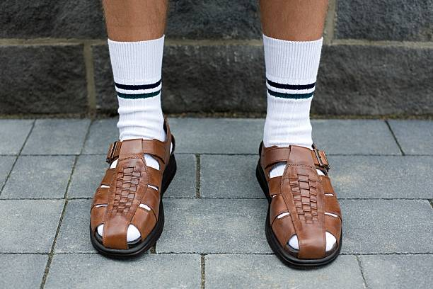 Man wearing sandals  nerd stock pictures, royalty-free photos & images