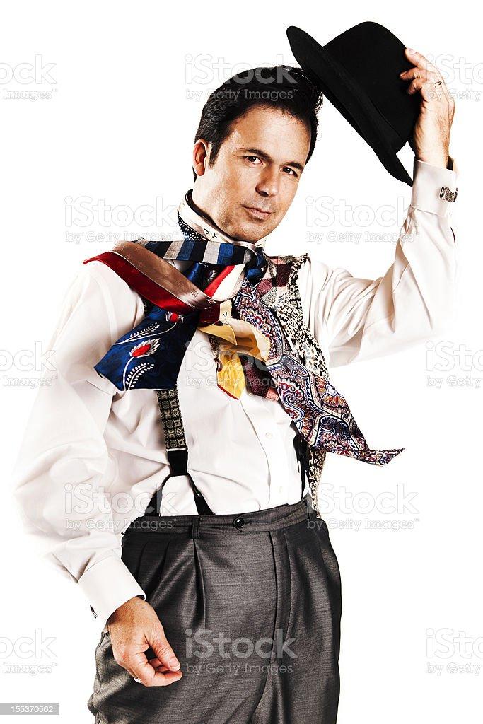 Man Wearing Several Ties royalty-free stock photo