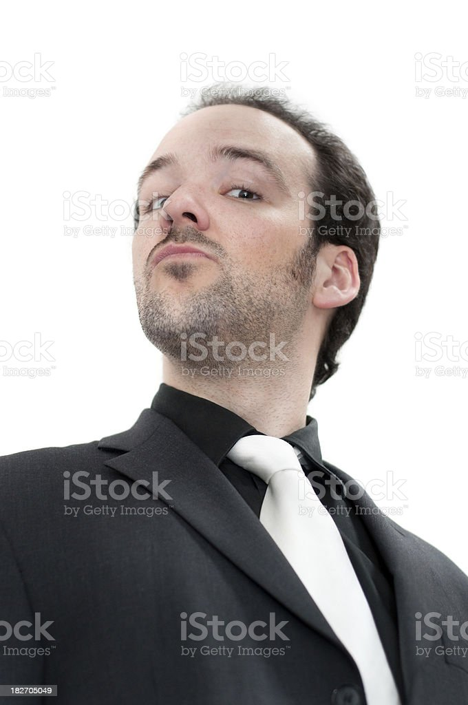 Man wearing suit, isolated on white, looking down royalty-free stock photo