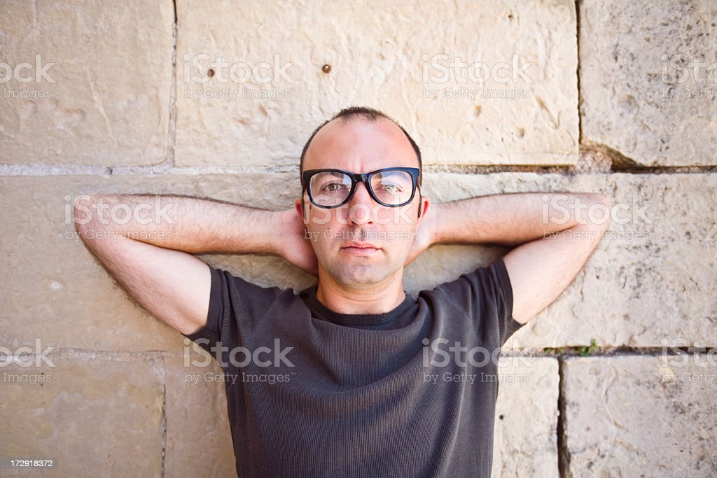 Man wearing thick black glasses stock photo