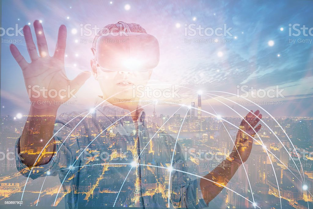 Man wearing vr headset stock photo