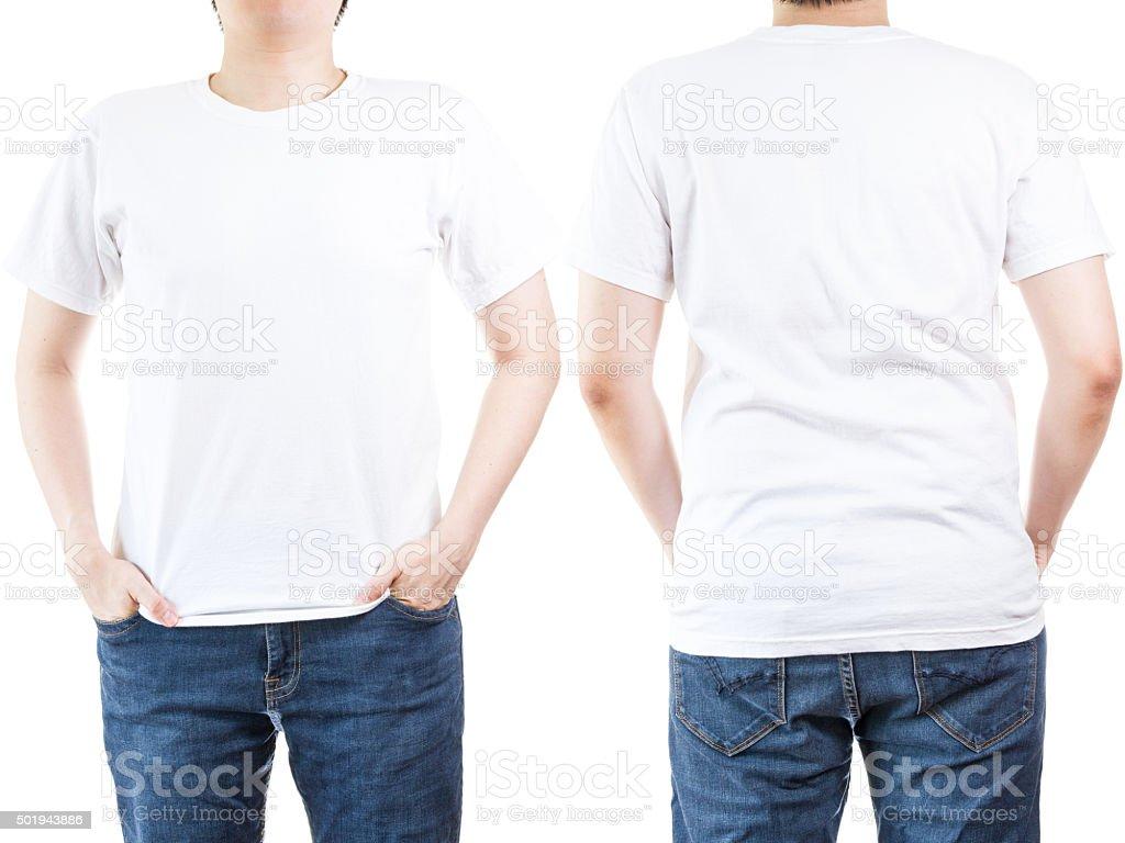 Mann trägt weißes t-shirt – Foto