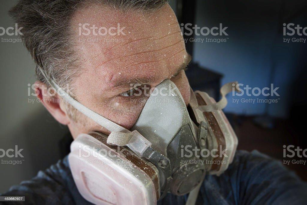 Man wears a protective respirator stock photo