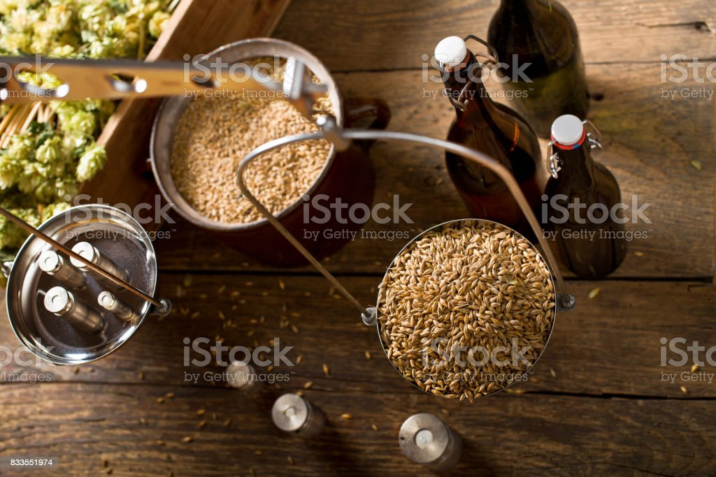 Man Weighs Malt for Home Brewing of Beer.  Top View. stock photo