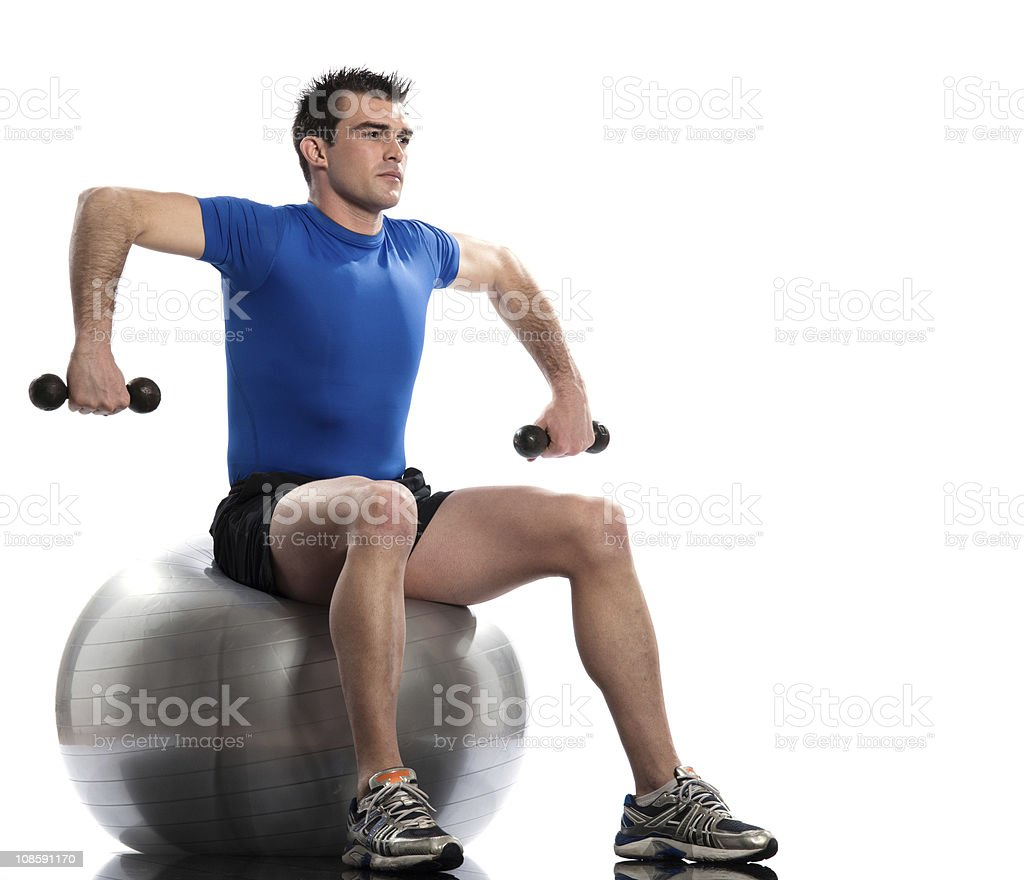 man  Weight Training Workout Posture exercices fitness ball royalty-free stock photo