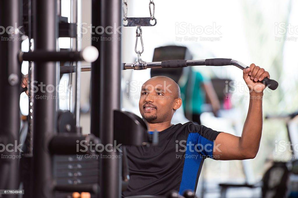 Man weights exercising. stock photo