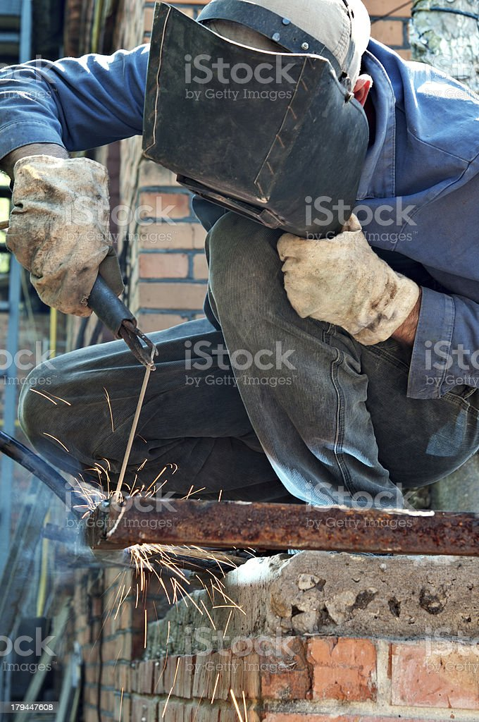man welding in workshop royalty-free stock photo