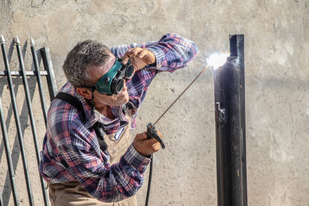 A man welding stock photo