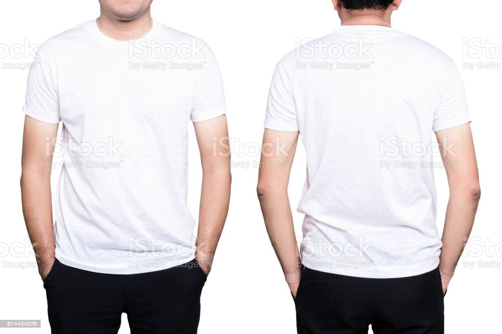 Man white t-shirt stock photo
