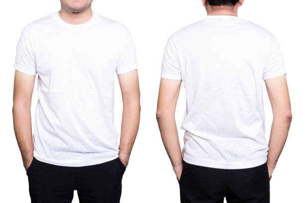 man white t-shirt - white tshirt stock photos and pictures