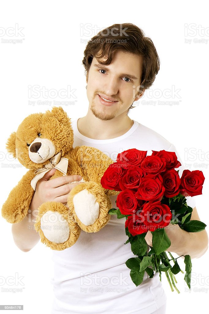 Man 누가 베어, 장미 꽃다발 - 로열티 프리 갈색 스톡 사진