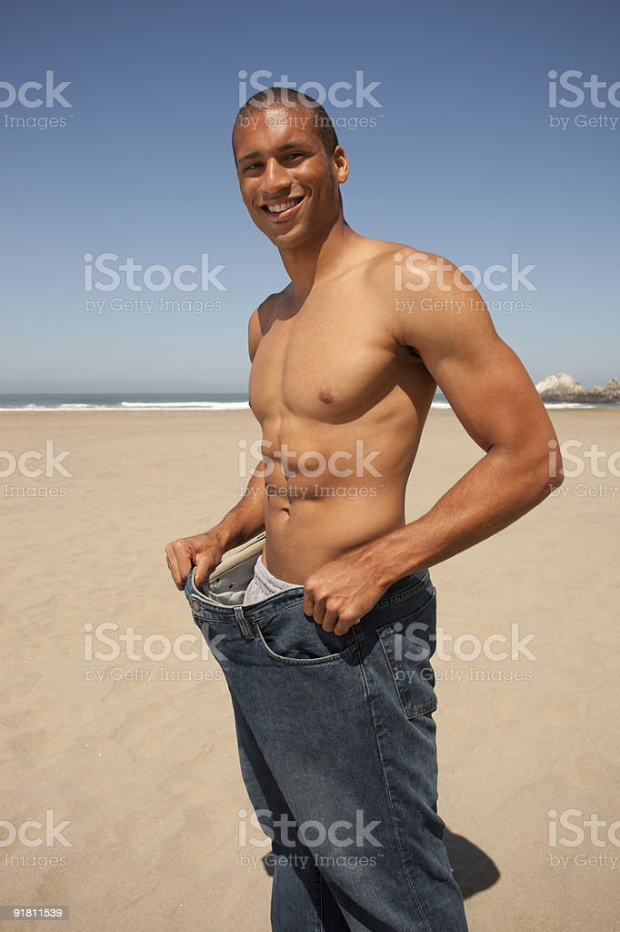 Man who has lost weight royalty-free stock photo