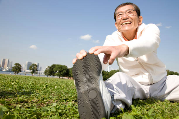 A man who is stretching stock photo