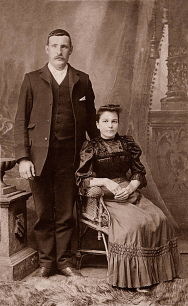 Man & Wife Portrait of a victorian man and his wife. 19th century stock pictures, royalty-free photos & images