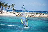Windsurfing in Mayan Riviera, Mexico.