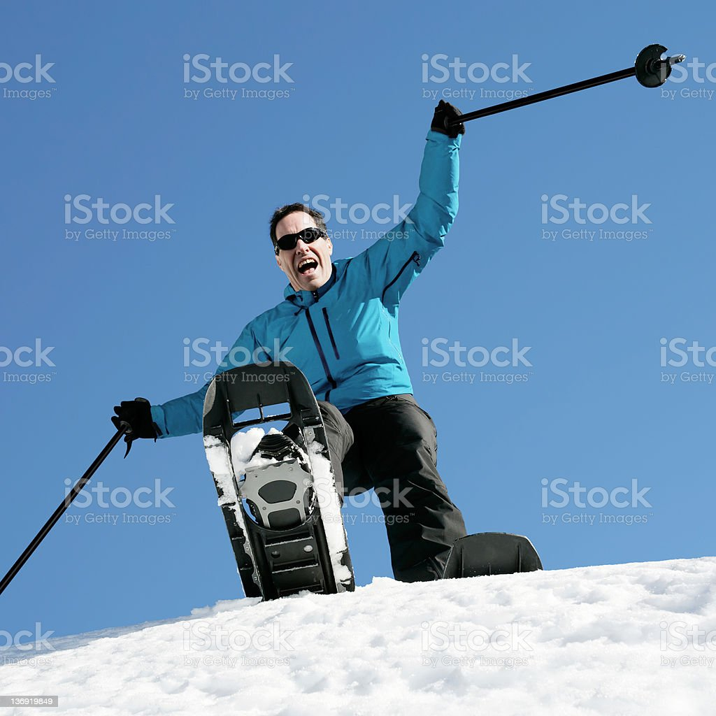 XL man winter hiking royalty-free stock photo