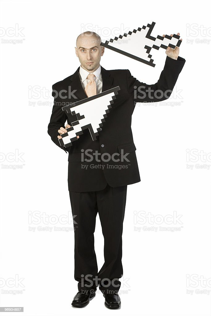 Man with 2 Mouse Arrows royalty-free stock photo