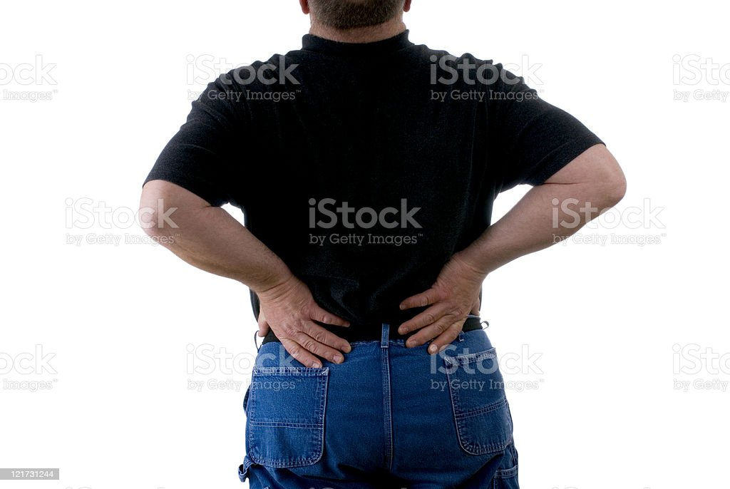 Man with a Backache on White Background royalty-free stock photo