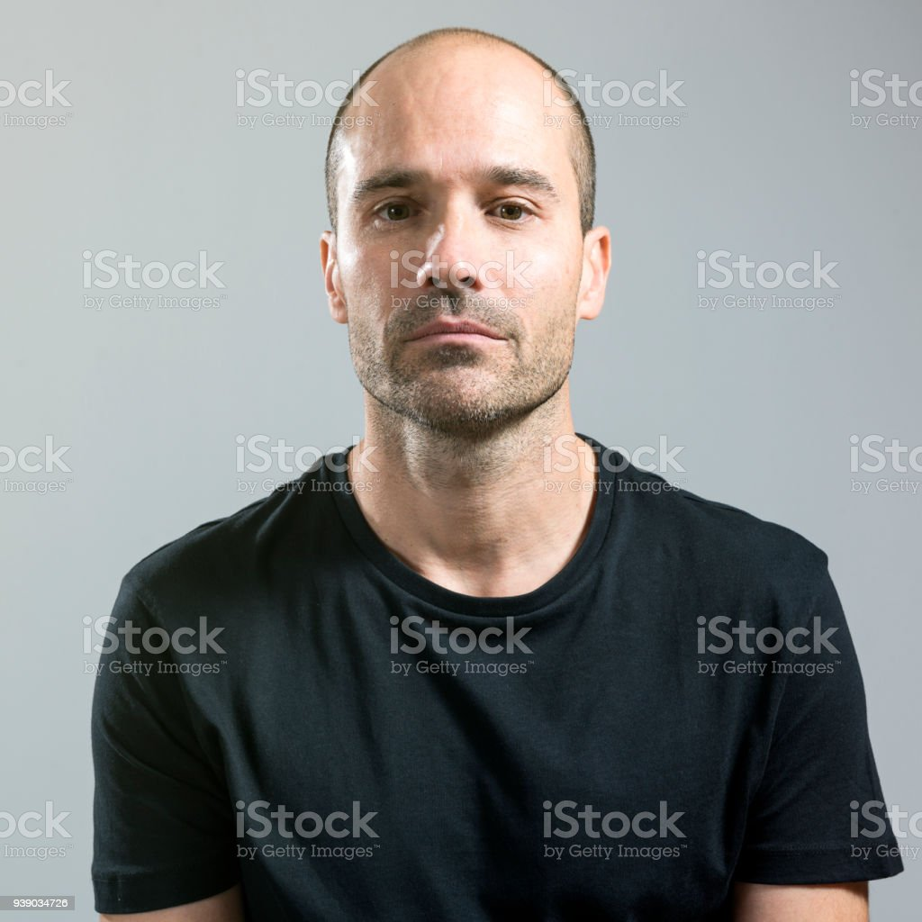Man with a blank expression stock photo