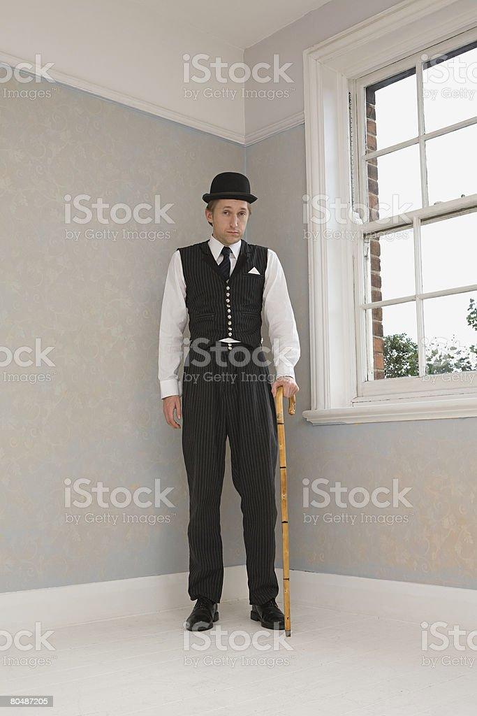 Mann mit dem Stöckchen und walking stick Lizenzfreies stock-foto