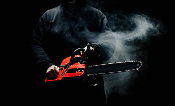 a man with a chainsaw in his hands close up - killer stock photos and pictures