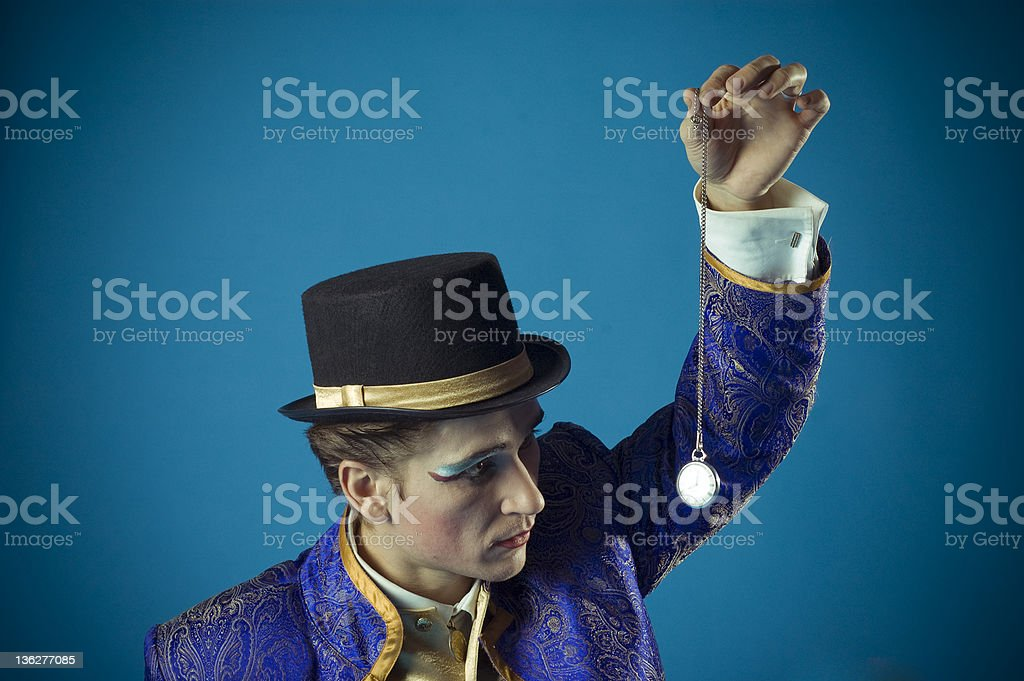 man with a clock stock photo