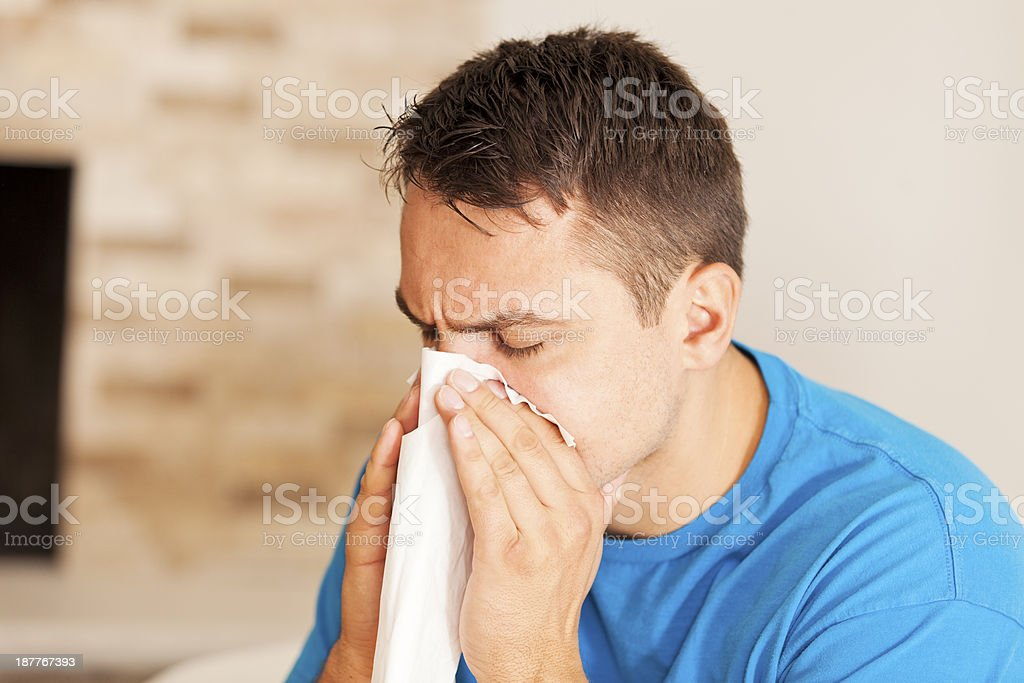 Man with a cold stock photo