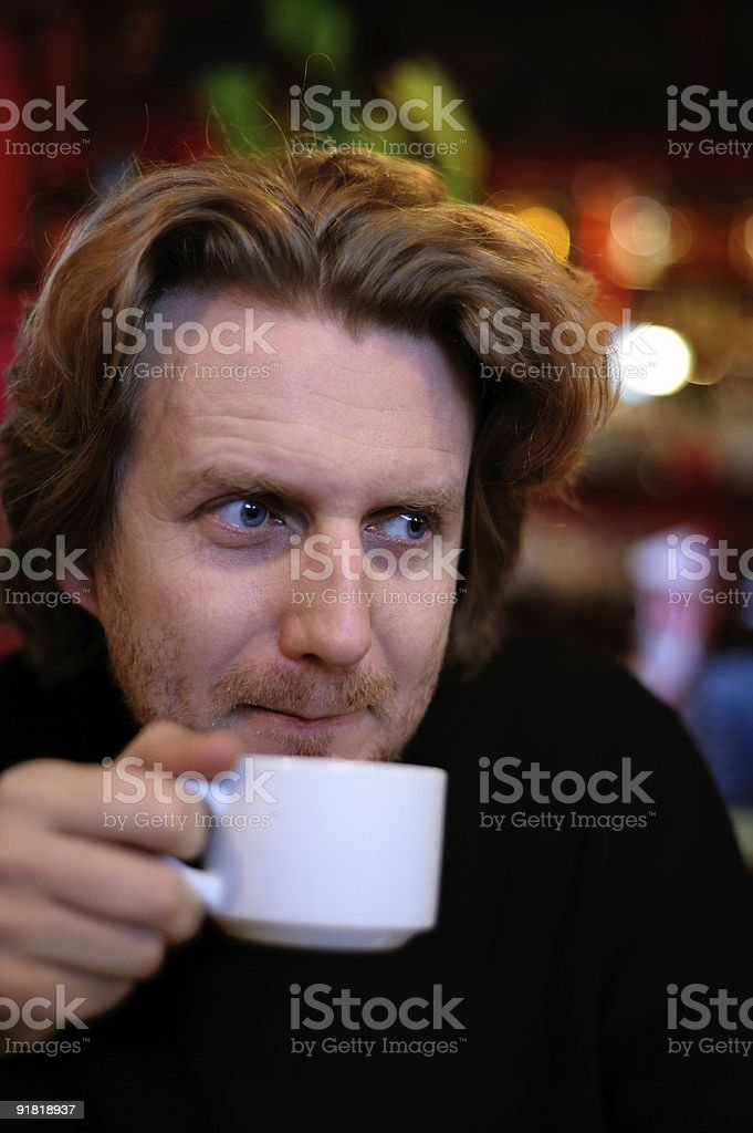 Man with a cup of coffee royalty-free stock photo